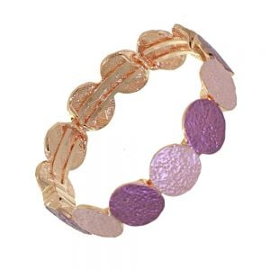 Stunning Fashion Jewellery: Magnetic Pink and Purple Colours Rose Gold Bracelet with Rough Textured Finish