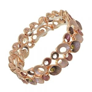 Stunning Fashion Jewellery: Rose Gold Bracelet with Pink and Coffee Tone Concave Circles