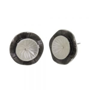 Pretty Fashion Jewellery: Textured Chocolate Brown and Cream Tone Overlapping Concave 'Ripple' Earrings