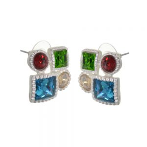 Statement Fashion Jewellery: Geometric Bright and Bold Colourful Crystal Earrings