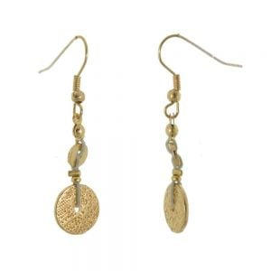 Hammered Gold Coin Drop Earring