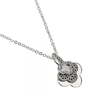 Rue B Fashion Jewellery:  Silver Necklace with Triple Layered Flower Pendants and Crystal Detailing