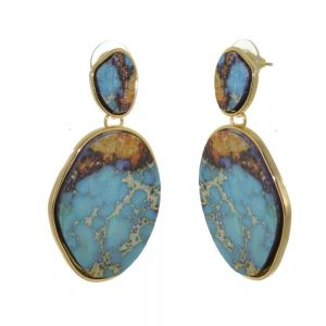 Gorgeous Fashion Jewellery: Statement Turquoise-Dyed Wood Earrings (5cm x 2.5cm) (I11)