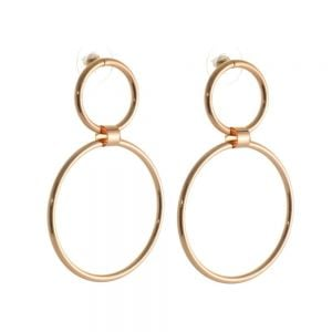 Statement Costume Jewellery:  Worn Gold Contemporary Double Circle Stud Earrings