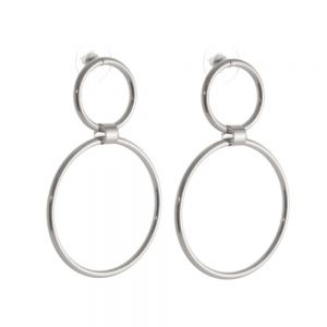 Statement Costume Jewellery:  Worn Silver Contemporary Double Circle Stud Earrings