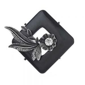 Vintage Arts and Crafts style square black flower Brooch