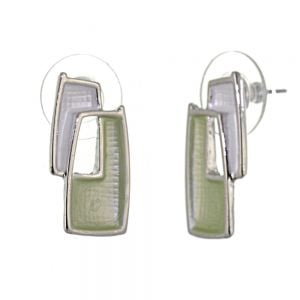 Pretty Fashion Jewellery: Bobbly Textured Oblong Stud Earrings in Matt Green and White