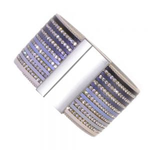 Fabulous Fashion Jewellery:  Wide Magnetic Leather and Crystal Bracelet in Ombre White to Blue to Black Shades