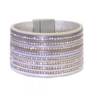 Fabulous Fashion Jewellery:  Wide Magnetic Leather and Crystal Bracelet in Ombre Grey Shades (R430)