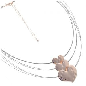 Stunning Costume Jewellery: Elegant Rose Gold Triple Heart Necklace