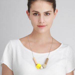 Beautiful Fashion Jewellery: Yellow and Natural Wood Tone Beaded Necklace with Geometric Beads (YK283)