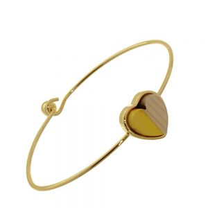 Beautiful Fashion Jewellery: Simple Gold Bangle with Wooden and Buttercup Yellow Acrylic Heart  (6cm Diameter) (I2)Y)