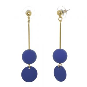 Quirky Fashion Jewellery: Gold Stick Earrings with Royal Blue Bead and Coin Drops