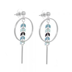 Statement Costume Jewellery: Silver Tone Circle and Bar Drop Earrings with Delicate Turquoise Arrow Patter
