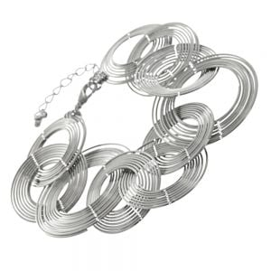 This is a striking modern design featuring statement discs made up od concentric wire circles