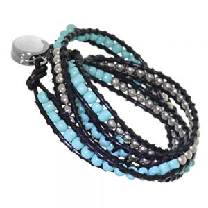 Boho Fashion Jewellery: Multi-Stranded Festival Style Inspired Bracelet with Silver and Turquoise Tone Beading