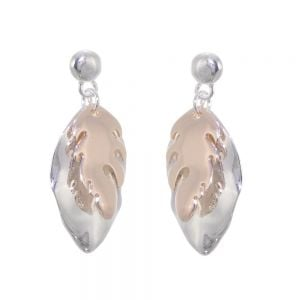 Mixed Metal Fashion Jewellery: Large Statement Silver and Rose Gold Overlapping Oak Leaf Earrings