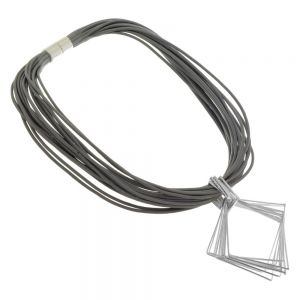 Magnetic Fashion Jewellery: Grey Leather Necklace with Diamond Shape Pendant