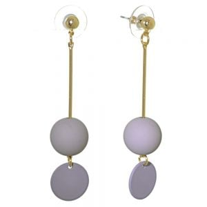 Quirky Fashion Jewellery: Gold Stick earrings with Grey Bead and Coin Drops (Length 6.5cm)
