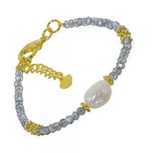 Fashion Bracelet with a central Fresh Water Pearl and Crystal Glass design adjustable to 22.5 cm