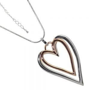 Fabulous Fashion Jewellery: Long Snake Chain Necklace with Silver and Rose Gold Double Pointed Heart Pendant