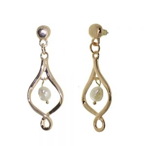 Beautiful Fashion Jewellery: Chunky Rose Gold Infinity Twist Earrings with Freshwater Pearls