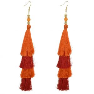 Showstopping Fashion Jewellery: Vivid Layered Orange and Red Statement Tassel Earrings