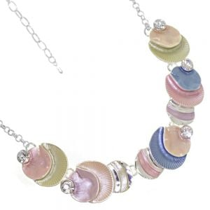 Beautiful Fashion Jewellery:  Pastel Rainbow Necklace with Seashell Textured Round Shapes and Crystals