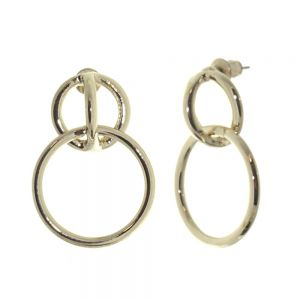 Contemporary Fashion Jewellery: Soft light Gold Tone Linked Circle Earrings