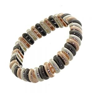 Multi-Tone Fashion Jewellery: Black Hematite, Rose Gold and Silver Chunky Stretch Bracelet with Rounded Beads