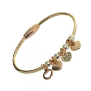 Rue B Fashion Jewellery: Small Rose Gold Bangle with Rose Gold ad Crystal Heart Charms and Silver Beads
