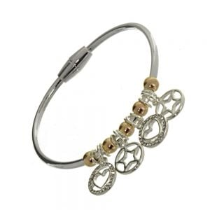 Rue B Fashion Jewellery: Small Silver Bangle with Silver Star and Heart Charms and Rose Gold Beads