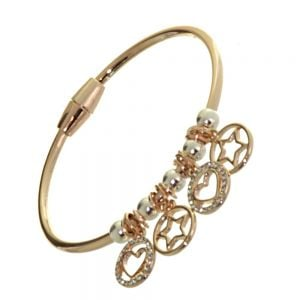 Rue B Fashion Jewellery: Small Rose Gold Bangle with Rose Gold Star and Heart Charms and Silver Beads