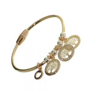 Rue B Fashion Jewellery: Small Rose Gold Bangle with Rose Gold and Crystal Tree of Life Charms and Silver Beads