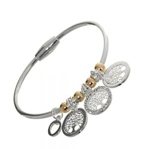 Rue B Fashion Jewellery: Small Silver Bangle with Silver and Crystal Tree of Life Charms and Rose Gold Beads