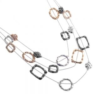 Contemporary Fashion Jewellery: Short Layered Silver Necklace with Mixed Metal Hammered Irregular Shapes