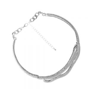 Statement Costume Jewellery: Silver Snake Design Choker Style Collar