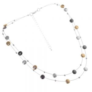 Multi-Tone Fashion Jewellery: Double Wire Necklace With Black and Gold Pebble Design