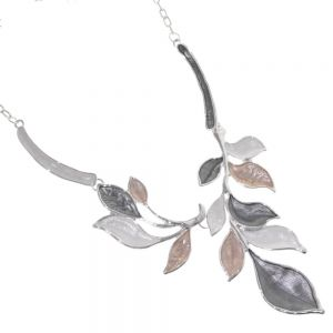 Unusual Fashion Jewellery: Beautiful Statement Necklace with Branching Leaf Design in Metallic Grey, White and Toffee Shades