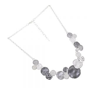 Contemporary Fashion Jewellery: Grey Tone Multi-Textured Abstract Necklace with Opalescent Stones