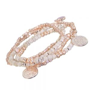 Lovely Fashion Jewellery: Rose Gold and Ivory Tone Beaded Charm Wrap-Around Bracelet (Or Necklace!)