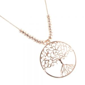 Beautiful Fashion Jewellery: Part-Beaded Rose Gold Necklace with Swirly Tree of Life Pendant