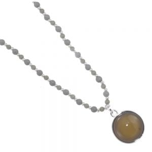 Pretty Fashion Jewellery: Long Grey and Silver Beaded Necklace with Round Semi-Opalescent Grey Stone Pendant - 34