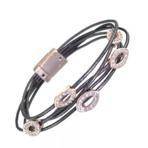 ontemporary Fashion Jewellery: Multi-Strand Black Leather Bracelet with Rose Gold  Crystal Pointed Ovals and Magnetic Fastening