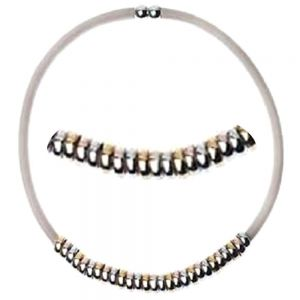 Rose Gold Range: Beige Magnetic Necklace with Multi-Tone Hoop Beads