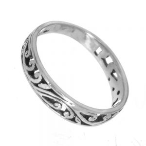 Beautiful Sterling Silver Jewellery: Simple Swirling Design Ring (4mm band)