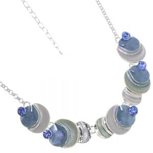 Mermaid Fashion Jewellery:  Ocean Blue and Sea Green Necklace with Seashell Textured Round Shapes and Sapphire Crystals