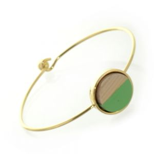 Beautiful Fashion Jewellery: Simple Gold Bangle with Wooden and Grass Green Acrylic Circle (6cm Diameter) (I19)g)
