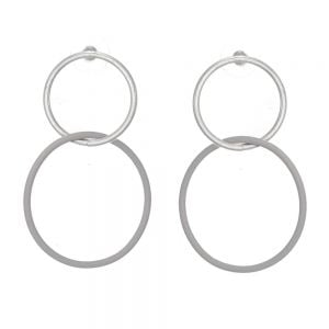 Contemporary Fashion Jewellery: Large Linked Circle Matt Silver and Grey Stud Earrings (5cm x 4cm) (EV1)D)