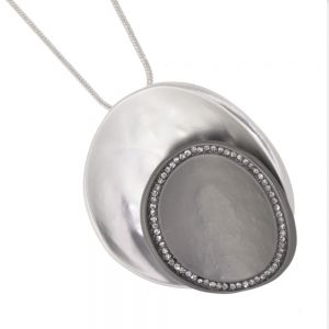 Contemporary Fashion Jewellery: Necklace and Curling Silver Disc Pendant with Matt silver and black finish  Finish (M522)